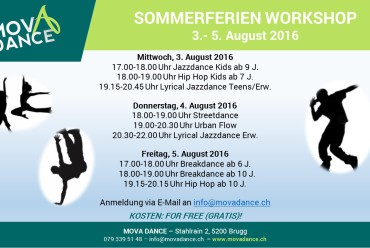 Sommerferien Workshop 3.-5. August 2016